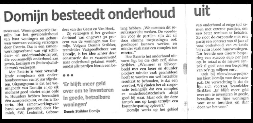Domijn Enschede Besteedt Onderhoud Gevels Uit